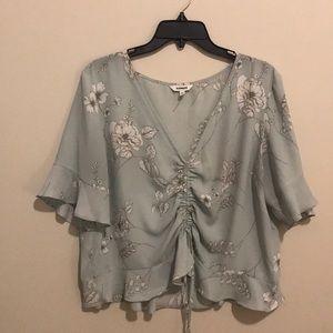 pastel floral blouse